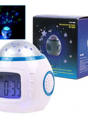 Музыкальный ночник-проектор звездное небо 1038 с часами