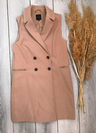 New look пальто тренч безрукавка длинное стильное бежевое тёпл...