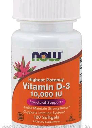 Витамин D-3, Now Foods 10000 МЕ, 120 капсул