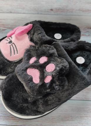 Детские меховые тапочки комнатные для дома домашние 30-35р черные