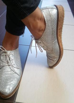 Серебристые туфли marco tozzi