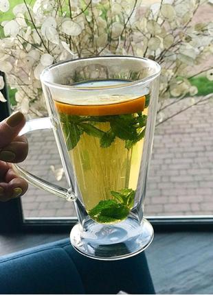 Чашки кружки стеклянные для чая кофе набор с двойными стенками