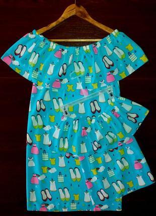 Family look платье для мамы и дочки 8 расцветок