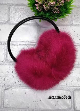 Ярко-розовые наушники с натуральным мехом