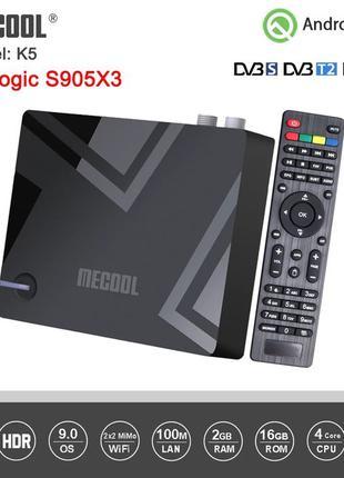 Гибридная тв приставка Mecool K5  2/16 S905X3 DVB T2 S2 C tv box