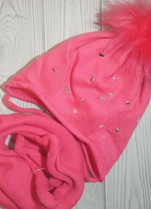 Шапка снуд хомут зимний комплект набор для девочек ambra