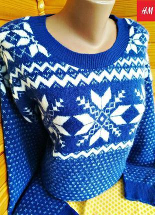Мягкий нежный праздничный новогодний свитер от h&m, оригинал.