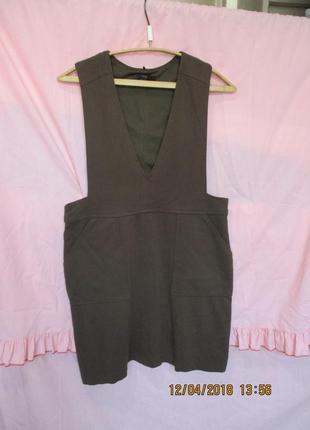 Классный трикотажный комбинезон юбка/сарафан цвет хаки 48 рр