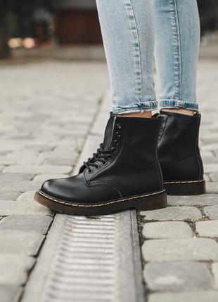 Классические черные ботинки унисекс без меха dr martens