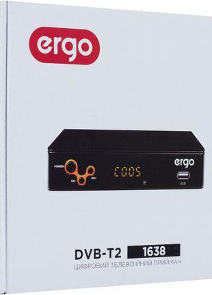 TV Тюнер цифровой Т2 ERGO DVB-T2 1638 с часами