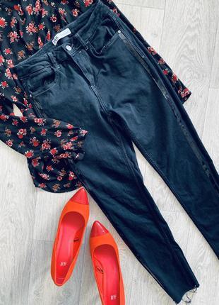 Чёрные  джинсы с лампасами zara