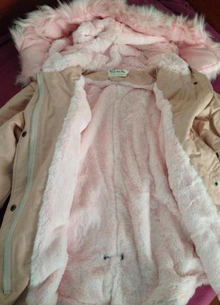 Куртка, парка, розовый мех р. S- M