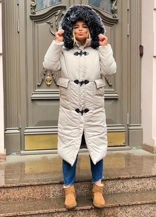 Куртка пуховик зима с мехом длинная