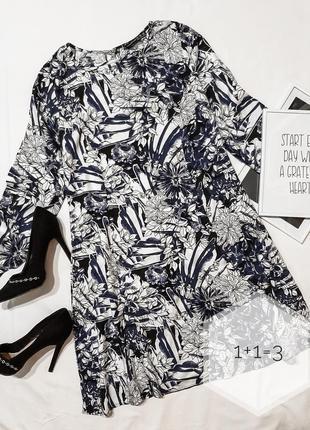 Atm стильное натуральное платье xs длинный рукав трапеция узор...