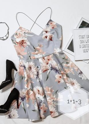 New look милейшее платье l-xl клеш мини короткое цветы вечерне...