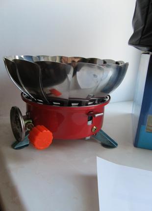 Примус газовый, портативная газовая горелка с ветрозащитой
