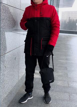 Комплект Парка красно-черная Найк +Штаны President +  барсетка и