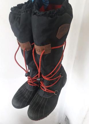 Кожаные сапоги Tommy Hilfiger комбинированные непромакаемые