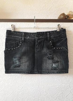 Женская джинсовая юбка мини рваная fishbone new yorker