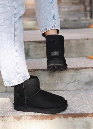 Ugg mini black suede женские замшевые зимние угги/ сапоги/ бот...