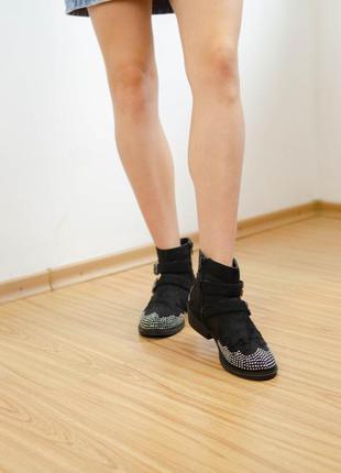 Yd черный ботинки на плоском ходу, блочный каблук, полусапожки...