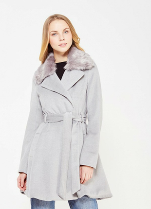 Пальто демисезонное женское серое