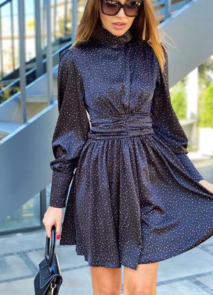 Нарядное платье делли, черное  в горошек, шелк