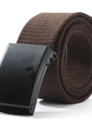 Ремень текстильный на пояс, унисекс коричневый