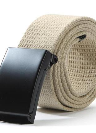 Ремень текстильный на пояс, унисекс бежевый