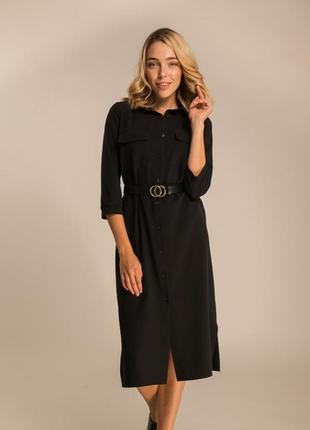 Элегантное платье миди рубашечного кроя с поясом сукня міді