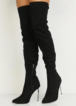 Ботфорты сапоги высокие женские черные блестящие на шпильке