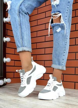 Натуральная кожа кожаные кроссовки с замшевыми вставками на ма...