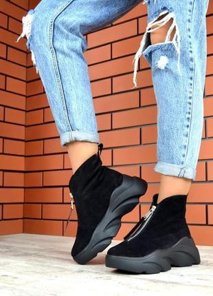 Натуральная замша замшевые осенние ботинки на массивной подошв...