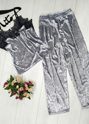 Mito 310 серый черное кружево женская пижама мраморный велюр к...