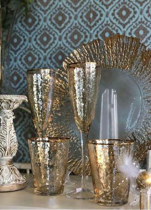 Шикарные бокалы в золотом цвете для вина шампанского стаканы