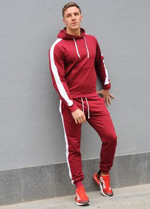 Бордовый мужской спортивный костюм с белыми лампасами (весна-осен