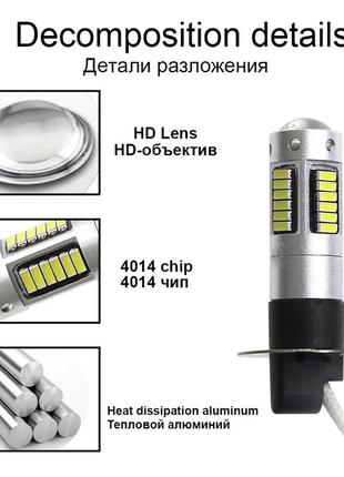 H3 LED автомобильные лампочки в противотуманные фары. Автоламп...