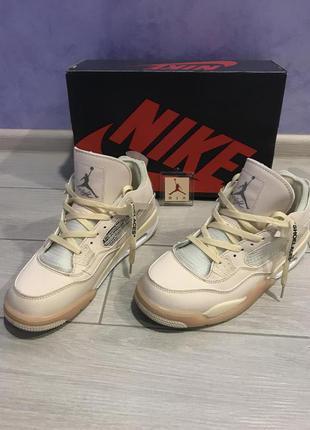 Унисекс кроссовки Nike Air Jordan 4 x Off white Cream