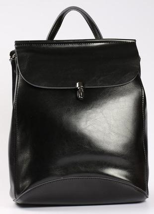 """Молодежный кожаный рюкзак-сумка(трансформер) черного цвета """"кр..."""