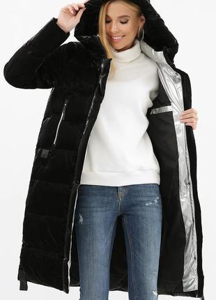 Пальто черное с серебром