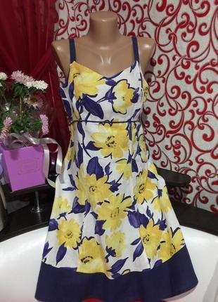 Натуральный красивый сарафан\платье  в цветочный принт на 46\48 р
