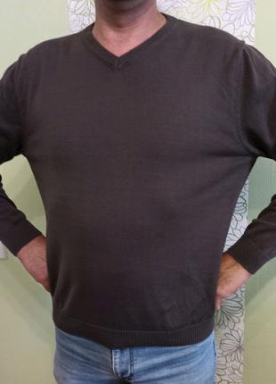 Мужской свитер пуловер тонкий свитерок. V образный вырез. Котон