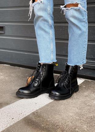 Чёрные женские ботинки доктор мартинс, dr martens black