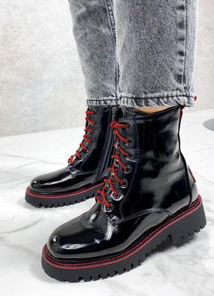 Модные женские зимние лаковые ботинки красный+черный