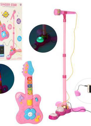 Детский микрофон на стойке и гитара 8944