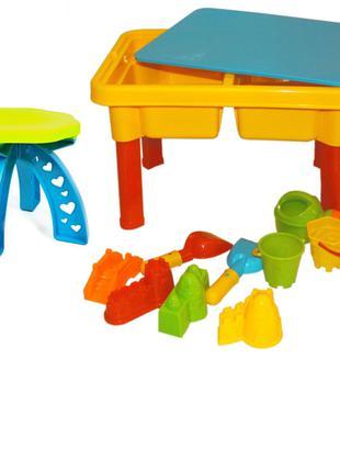 Столик-Песочница со стульчиком 2 в 1 для игр с песком и водой 08-