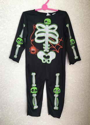 Карнавальный костюм скелета/зомби мальчика 1,5-2 года, на хелл...