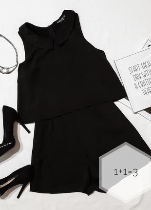 Select базовый ромпер m-l с карманами вечерний черный стильный...