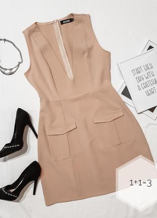 Misguided базовое лаконичное платье s-m бежевое мини короткое ...