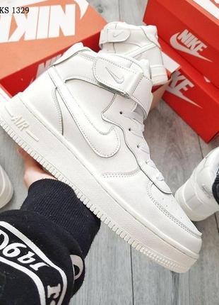 Кроссовки nike air force high (белые) зима